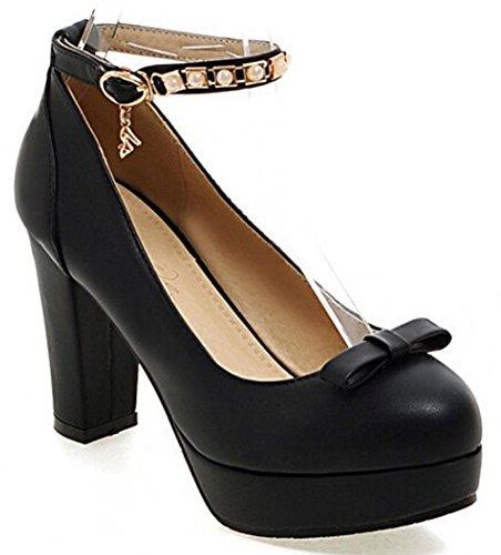 IDIFU Women's Rhinestones Ankle Strap Buckle High Heel Chunky Platform Pumps Shoes With Bow Black 8 B(M) US
