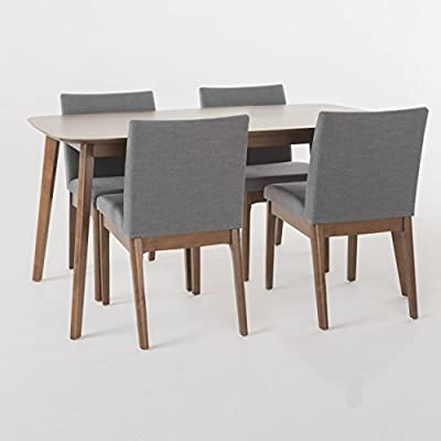 "GDF Studio Katherine Dark Grey Fabric/Natural Walnut Finish 60"" Rectangular 5 Piece Dining Set - Includes: One (1) Table and Four (4) Chairs Table Dimensions: 35.43 inches deep x 59.06 inches wide x 29.53 inches high Assembly Required - kitchen-dining-room-furniture, kitchen-dining-room, dining-sets - 41vZk%2BuuhOL. SS400  -"