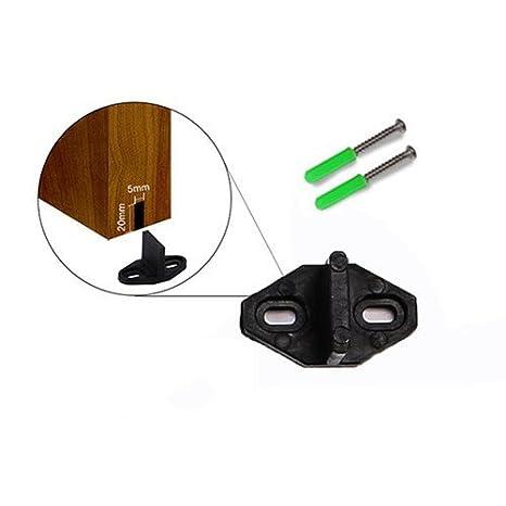 One Pair CCJH Sliding Barn Door Hardware Adjustable Door Stoppers Black
