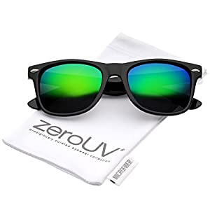 zeroUV - Retro Colored Mirror Polarized Lens Square Horn Rimmed Sunglasses 55mm (Black/Green Mirror)