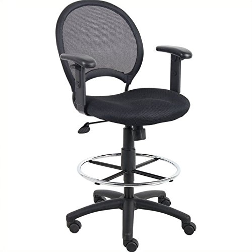 Boss Office Products B16216 Mesh Drafting Stool with Adjustable Arms in Black by Boss Office Products