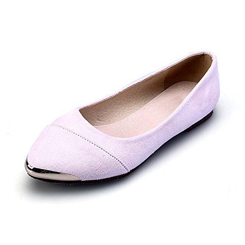 OCHENTA Calzados informales planos de metal de la boca baja zapatos de gran talla Rosa