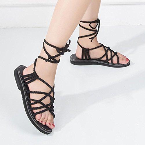 Chaussures Pantoufles la Pantoufles Femme Bohème Chaussures de JIANGfu Sandales Chaussures Bretelle de Romaine Plage Noir Sandale Été Croix Plat Mode Rome d'été PwxUR