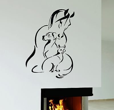 Wall Decal Horse Dog Cat Pet Animal shelter Veterinary Clinic Vinyl Mural ig2952 ()
