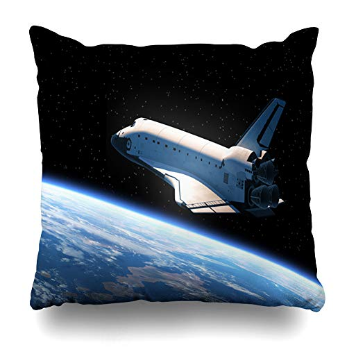 Ahawoso Throw Pillow Covers America NASA Space Shuttle Orbiting Earth Scene Science Technology Spaceship Rocket Atlantis Flight Home Decor Pillow Case Square Size 20 x 20 Inches Zippered Pillowcase