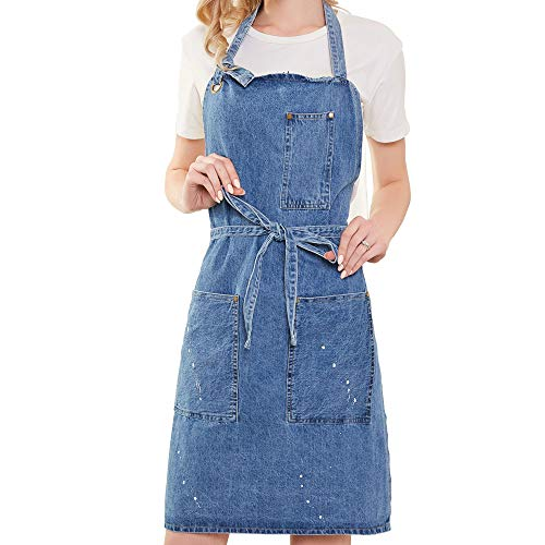 - Art Painting Denim Blue Apron Ikebana Jean Apron with 3 Pockets for Unisex Distressed Adjustable Men and Women (Washing Style)
