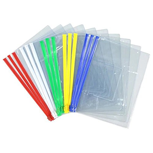 Poly Zip Envelope - 15Band Waterproof A4 File Bag Files 5 Color Zipper Seamless Slider Closure Pouch