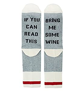 Novelty Funny Saying Fun Socks for Men, If You Can Read This Bring Me Some Wine Silly Socks
