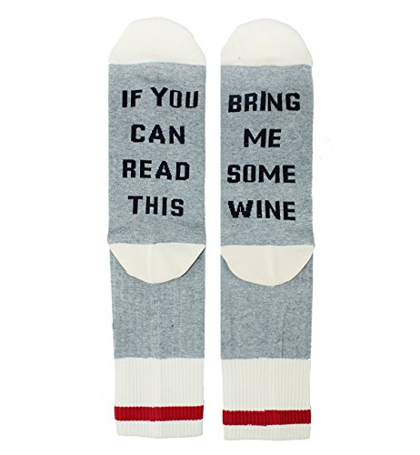 If You Can Read This Bring Me Wine Fun Cozy Crew Socks, Gag Gift for Wine Lovers