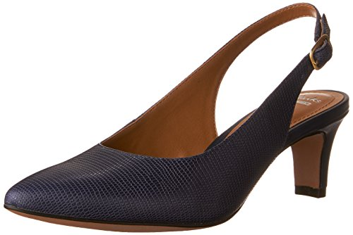 Lizard Print Heels (Clarks Women's Crewso Riley Dress Pump, Navy Leather Lizard Print, 8.5 M US)