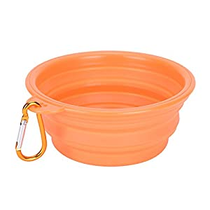 wonderflowers Collapsible Pet Cat Dog Dish Water Feeder Silicone Travel Feeding Bowl Free Carabiner Orange Color 86