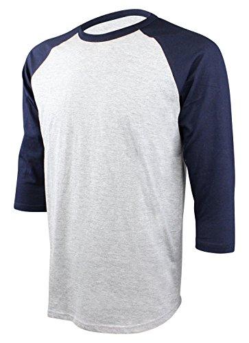 Enimay Men's Baseball Jersey 3/4 Sleeve Raglan Shirt Heather
