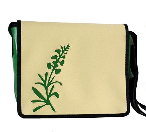 Borsa Da Spalla Tracolla Motivo Floreale Fiore Di Campo Avorio / Verde Smeraldo H 23, B 30, T 10