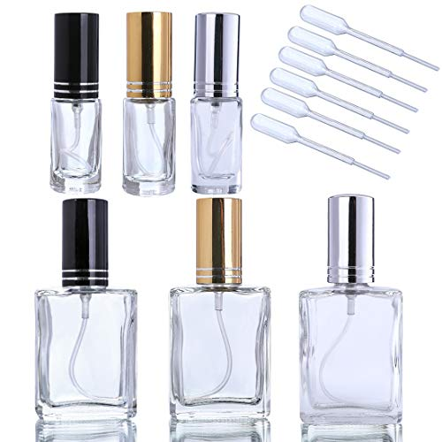 YUFENG Fashion Portable Clear Glass Perfume Bottle with Aluminum Atomizer Empty Cosmetic Container for Travel(Set of -