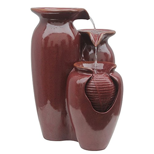 Water Pottery Fountain - Peaktop - VFD8176 Outdoor Indoor 3-Tier Jar Waterfall Fountain, Floor Fountain - 20