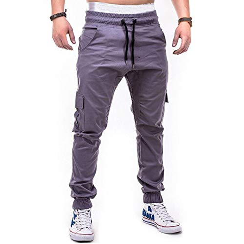 Realdo Clearance Fashion Sport Pure Color Bandage Casual Sweatpants Drawstring Cargo Pant Trousers(XX-Large,Gray) by Realdo (Image #1)