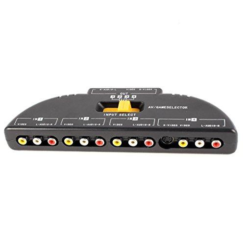 4-Way Audio Video AV RCA Switch Game Selector Box Splitter Black