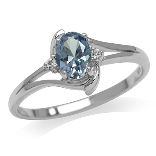 Simulated Color Change Alexandrite & White CZ Gold Plated 925 Sterling Silver Engagement Ring