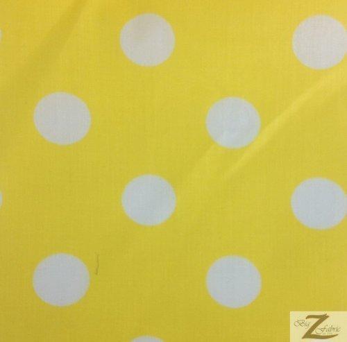 Yellow Polka Dot Fabric - YELLOW/WHITE BIG POLKA DOTS PRINT POLY COTTON FABRIC 58