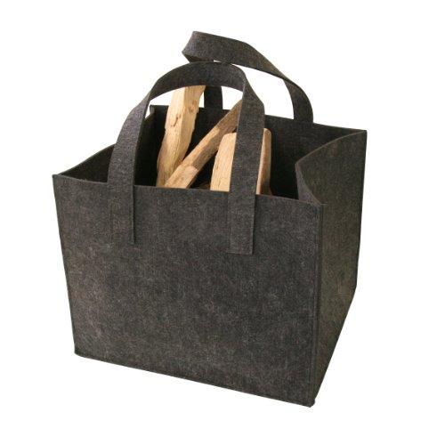 Kamino-Flam Kaminholztasche 339501 aus hochwertigem Filz, sehr robust trotz des geringen Gewichts, Allzweckkorb mit vielen Einsatzmöglichkeiten, schonendes Material für jeden Untergrund, mit zwei Henkel zum leichten Transport, ca. 36 x 42 x 34 cm