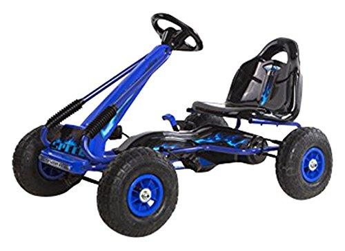 Childrens Go Karting - Ricco PB9588A Blue Kids Pedal Go-Kart Ride On Rubber Wheels Sports Racing Toy Trike Car by Ricco