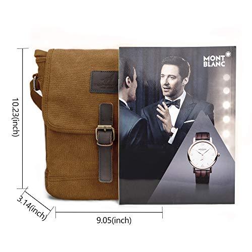 81bcf73d37 Canvas Messenger Bag TOPWOLF Small Crossbody Bag Casual Travel Working  Tools Bag Shoulder Bag Easily Hold