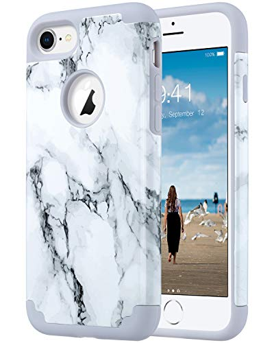 ULAK iPhone 8 Case Marble, iPhone 7 Case, Slim Fit Dual Layer Soft Silicone & Hard Back Cover Bumper Protective Shock-Absorption & Skid-Proof Anti-Scratch Case, ()
