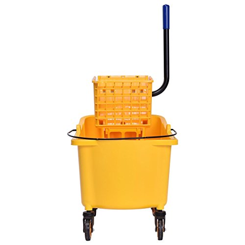 - 31 Quart Side Mop Bucket Press Wringer Broom Wringer Yellow Brooms Cleaning Four Wheels Home Office, Useful