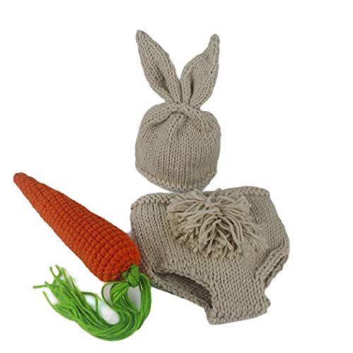 Aurorao Newborn Photography Props Easter Bunny Rabbit Costume Crochet Knit Outfits 0 to 6 Months -