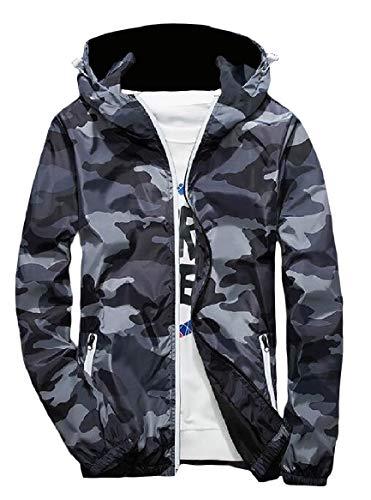 Runnung Grey with Fashional Zips Military Men's Camo Jacket Hood Activewear RkBaoye vx6w57RqX