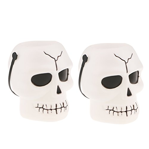 MagiDeal 2Pcs Halloween Skull Candy Bucket for Kids,