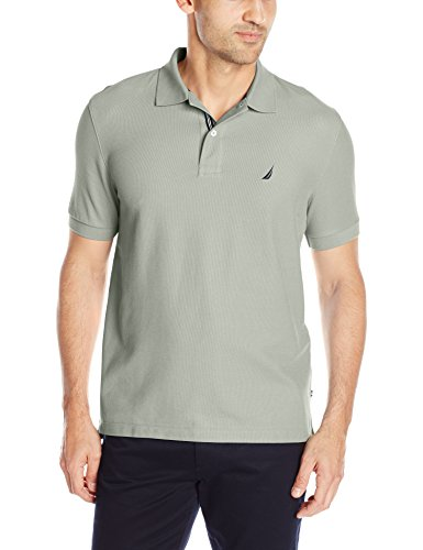 Nautica Men's Performance Pique Polo Shirt, Neutral Gray, Large