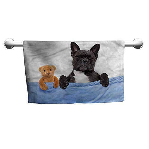 Floral Hand Towels Animal,French Bulldog with Bear,Cooling Towel for Neck