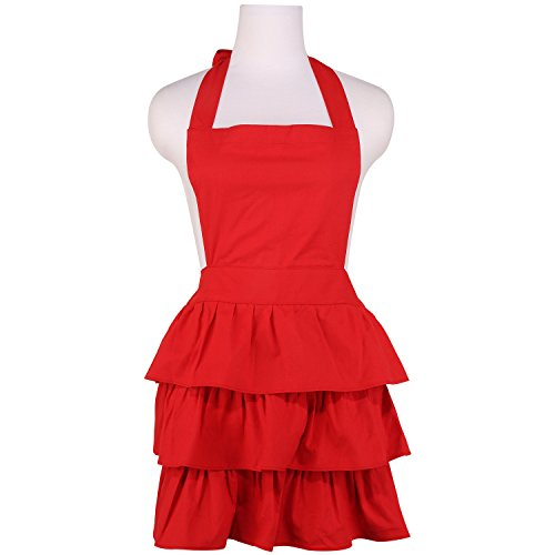 NEOVIVA Cotton Canvas Cooking Apron for Women with Ruffles, Solid Wine Red