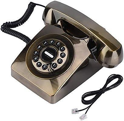 Jinxuny Antiguo Teléfono Vintage Antiguo Estilo Occidental Vintage Antiguo Teléfono de Almacenamiento Dial Retro (Color: Bronce): Amazon.es: Hogar