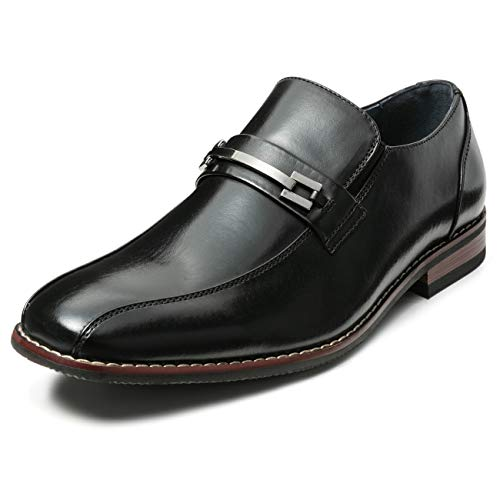ZRIANG Men's Dress Loafers Formal Leather Lined Slip-on Shoes (11 M US, Black-18)