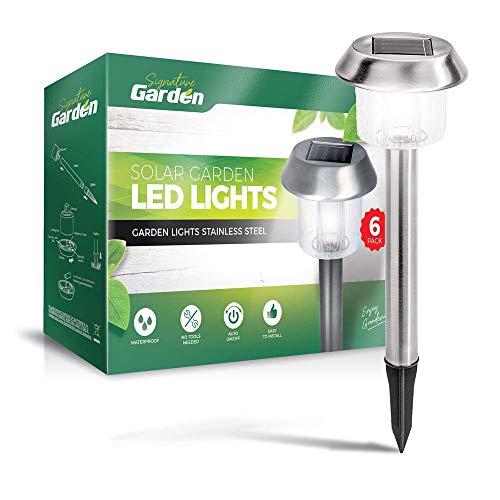 Signature Garden 6 Pack Solar Garden Lights - Super-Bright 15 Lumens - Premium Stainless Design; Makes Garden Pathways & Flower Beds Look Great - Easy NO-Wire Installation; All-Weather/Water-Resistant
