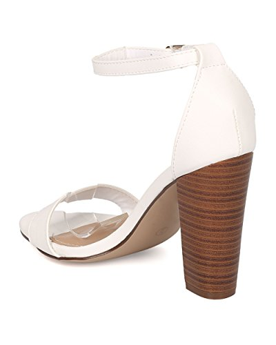 Strap Women Block Sandal Open Heel HA00 Sandal Leatherette by Heel White Breckelles Chunky Ankle Toe Minimalist XYxfq