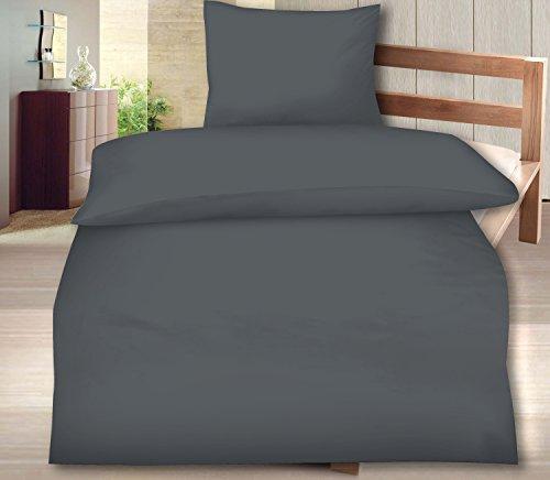 Aminata - moderne Uni-Bettwäsche 135x200 anthrazit Baumwolle Wende-Bettwäsche einfarbig Linon mit Reißverschluss