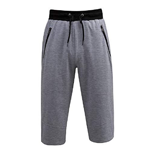 VITryst-Men Big & Tall Relaxed-Fit Shorts Casual Waist Tie Solid Colored Sweatpants Light Grey XL ()
