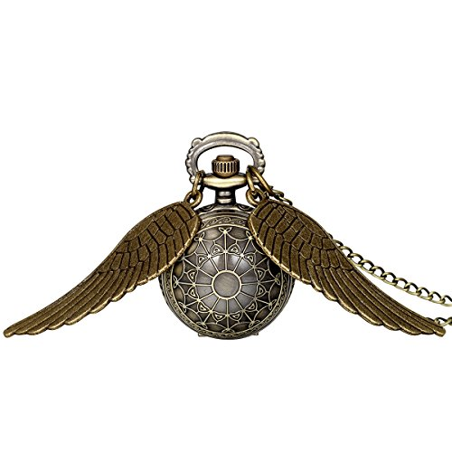 JewelryWe Vintage Retro Angel Wing Legendary Flying Ball Pendant Necklace Steampunk Pocket Watch (with Gift Bag)