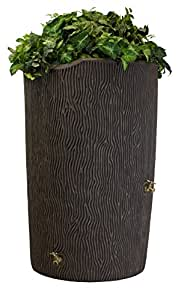 Good Ideas IMP-C90-OAK Impressions Tree Bark Rain Barrel, 90-Gallon, Oak