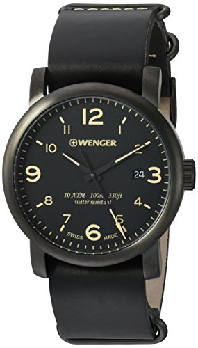 Wenger-Mens-Urban-Metropolitan-Swiss-Quartz-Stainless-Steel-and-Leather-Casual-Watch-ColorBlack-Model-011041135