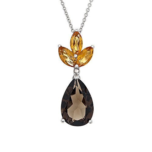 Brilliant Designers 2.8 CT Smokey Quartz, 0.66 CT Citrine, Diamond Accented Pear Shaped Pendant Set In Sterling Silver 18