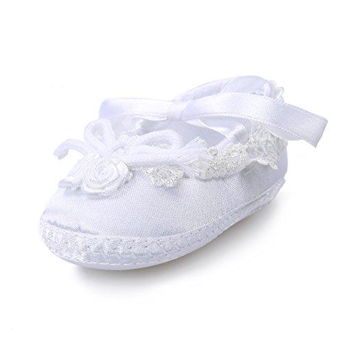 OOSAKU Baby Girl Christening Baptism Flower Lace Shoes Dance Ballerina Sneakers