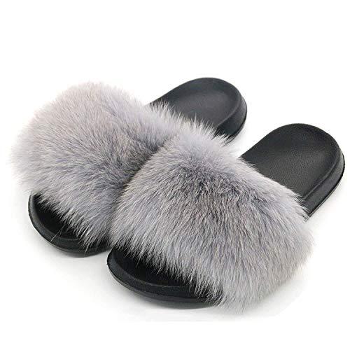 High end Women Fox Fur Slippers Slides Female Furry Indoor Flip Flops Casual Beach Plush Shoes,11MUS,LightGray