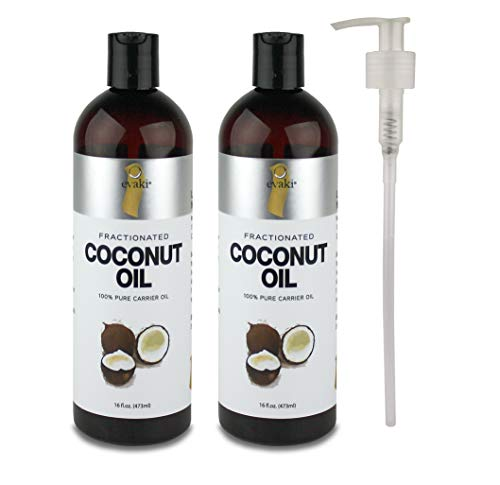2-PACK Evaki 16oz Fractionated Coconut Oil + Hand Pump + Dis