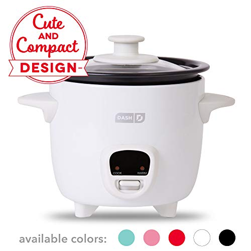 Dash DRCM200GBWH04 Mini Rice Cooker Steamer with with Removable Nonstick Pot, Keep Warm Function & Recipe Guide, 2 cups, for Soups, Stews, Grains & Oatmeal, White