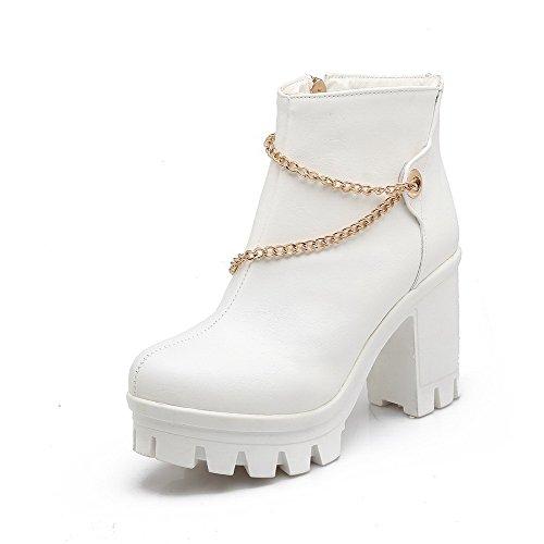 Round AgooLar Boots Solid High Toe Zipper White Women's PU Closed Heels nrrzwYp5q