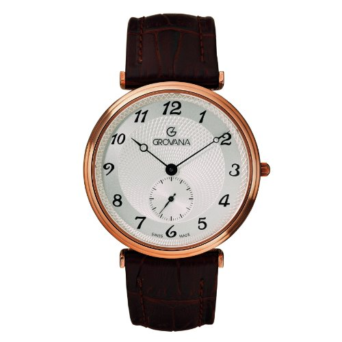 Grovana Men's 1276-5562 Traditional Analog Display Swiss Quartz Brown Watch